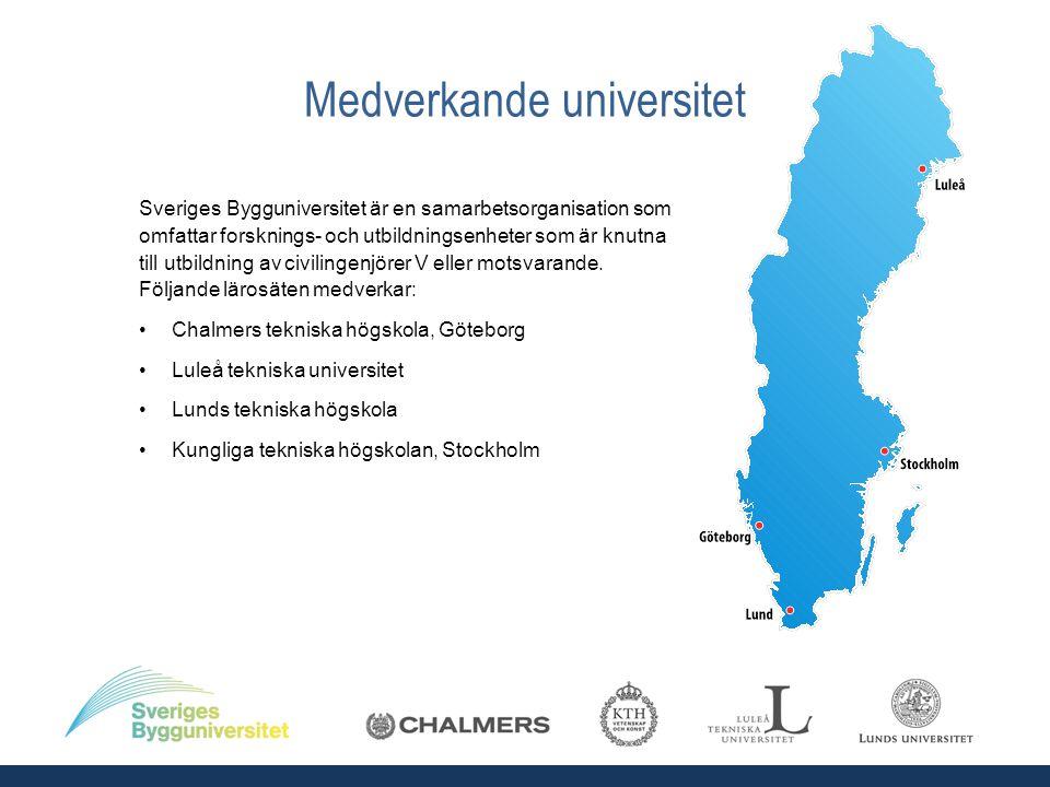 Medverkande universitet Sveriges Bygguniversitet är en samarbetsorganisation som omfattar forsknings- och utbildningsenheter som är knutna till utbildning av civilingenjörer V eller motsvarande.