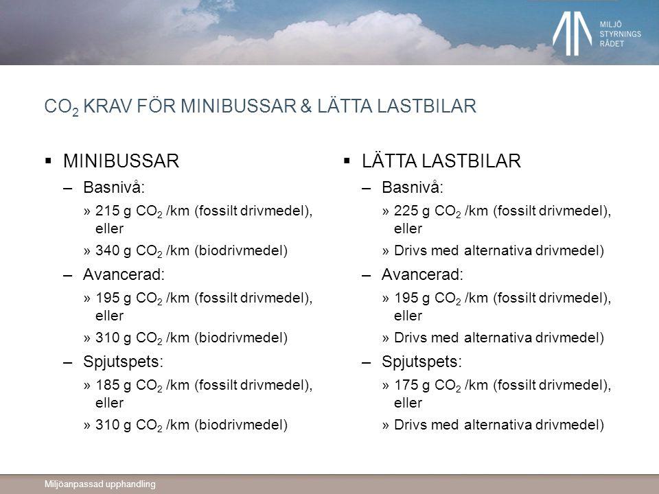 Miljöanpassad upphandling CO 2 KRAV FÖR MINIBUSSAR & LÄTTA LASTBILAR  MINIBUSSAR –Basnivå: »215 g CO 2 /km (fossilt drivmedel), eller »340 g CO 2 /km