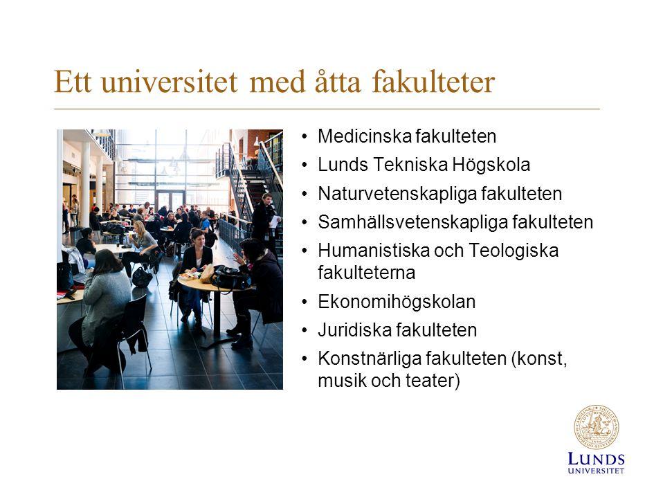 Ett universitet med åtta fakulteter •Medicinska fakulteten •Lunds Tekniska Högskola •Naturvetenskapliga fakulteten •Samhällsvetenskapliga fakulteten •