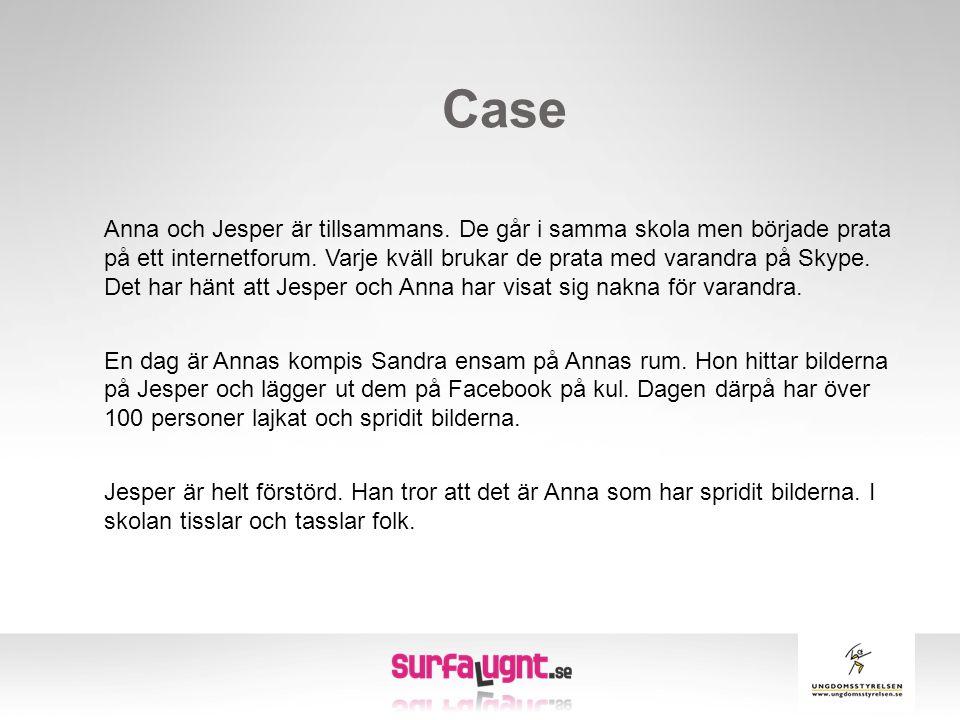 Case Anna och Jesper är tillsammans. De går i samma skola men började prata på ett internetforum. Varje kväll brukar de prata med varandra på Skype. D