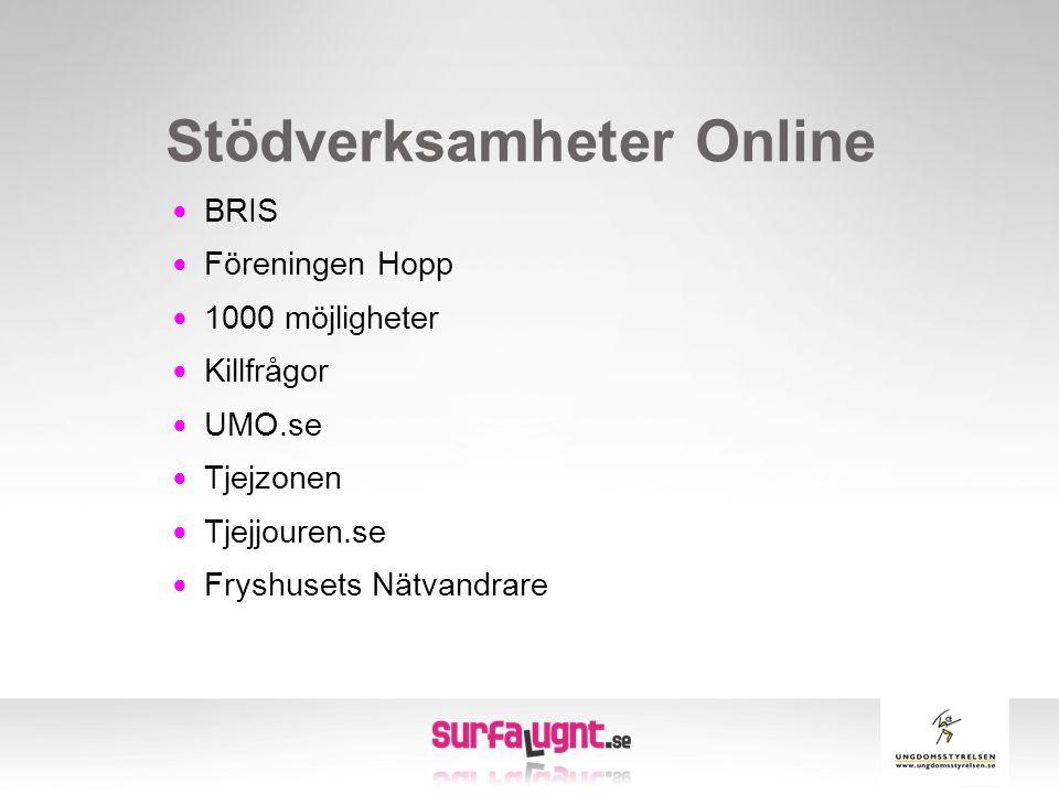 Stödverksamheter Online  BRIS  Föreningen Hopp  1000 möjligheter  Killfrågor  UMO.se  Tjejzonen  Tjejjouren.se  Fryshusets Nätvandrare