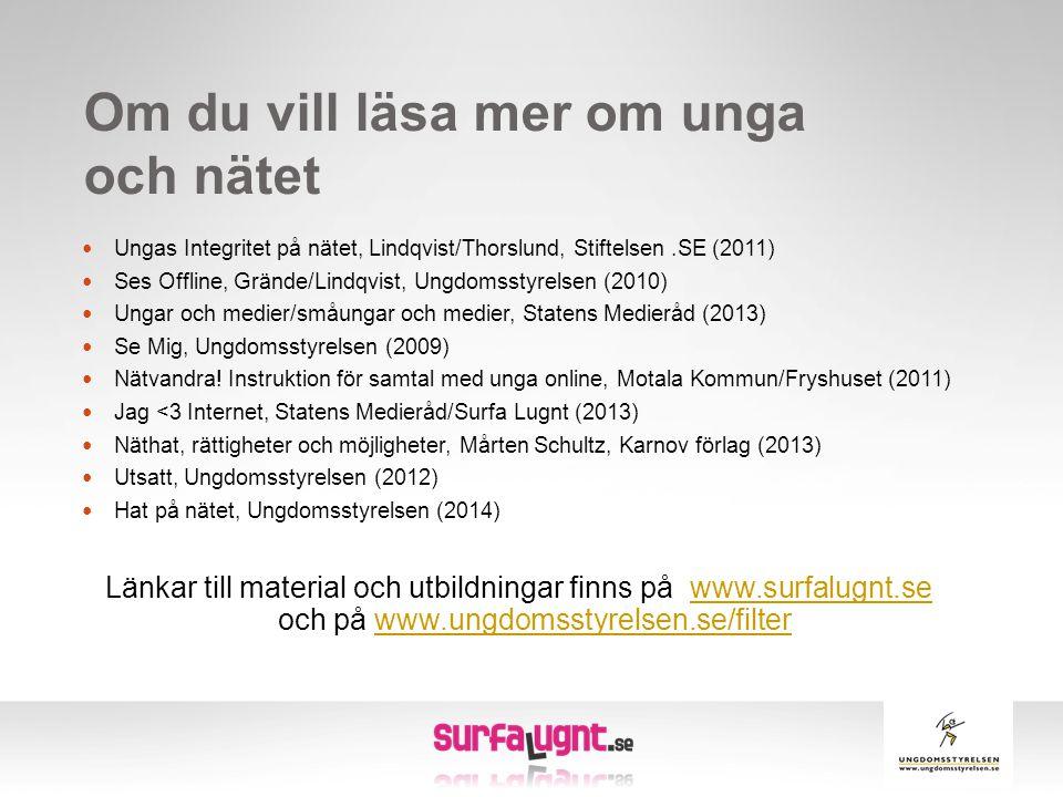Om du vill läsa mer om unga och nätet  Ungas Integritet på nätet, Lindqvist/Thorslund, Stiftelsen.SE (2011)  Ses Offline, Grände/Lindqvist, Ungdomss