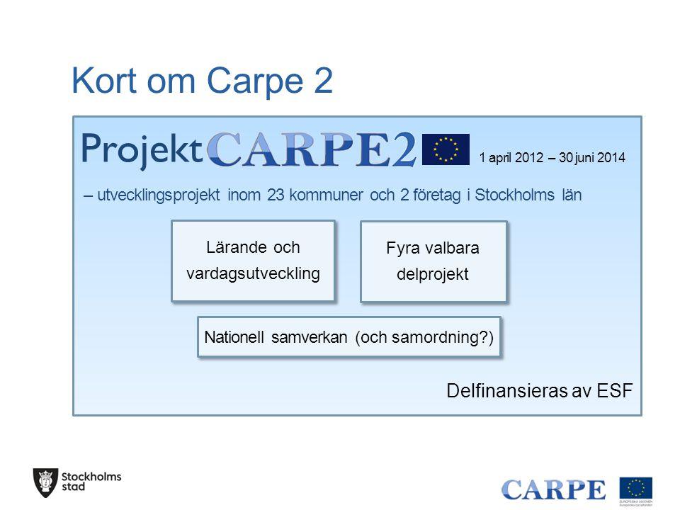 1 april 2012 – 30 juni 2014 – utvecklingsprojekt inom 23 kommuner och 2 företag i Stockholms län Delfinansieras av ESF Kort om Carpe 2 Lärande och vardagsutveckling Fyra valbara delprojekt Nationell samverkan (och samordning ) Projekt