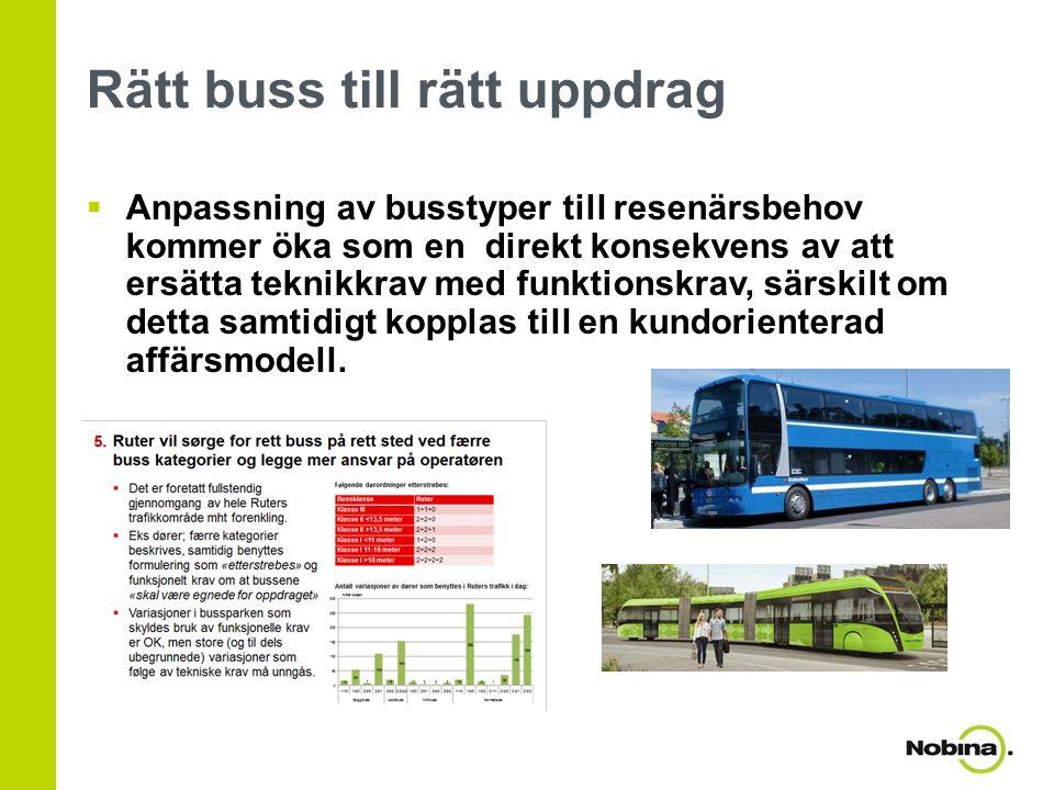 Rätt buss till rätt uppdrag  Anpassning av busstyper till resenärsbehov kommer öka som en direkt konsekvens av att ersätta teknikkrav med funktionskr