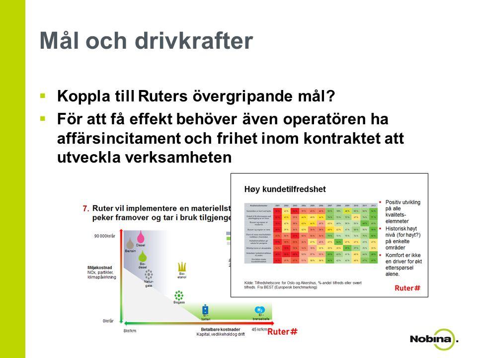Mål och drivkrafter  Koppla till Ruters övergripande mål?  För att få effekt behöver även operatören ha affärsincitament och frihet inom kontraktet