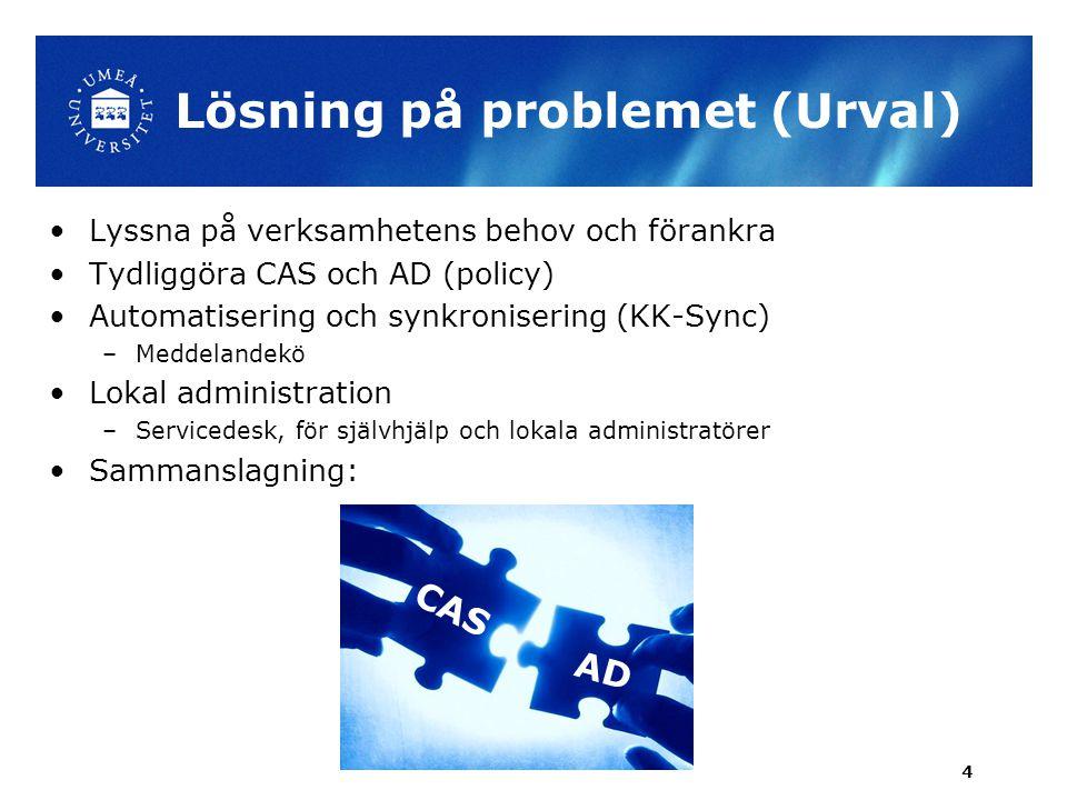 Lösning på problemet (Urval) •Lyssna på verksamhetens behov och förankra •Tydliggöra CAS och AD (policy) •Automatisering och synkronisering (KK-Sync)