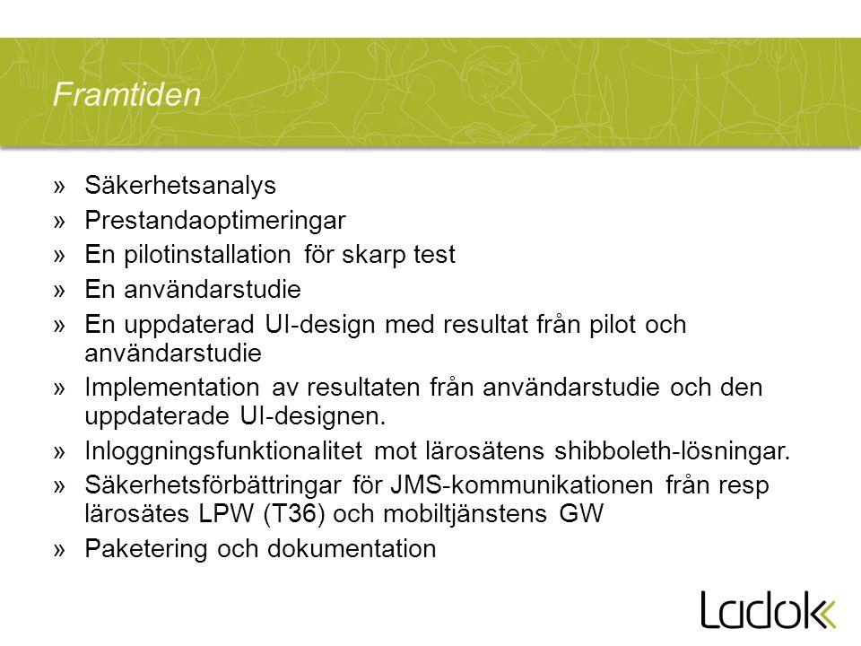 »Säkerhetsanalys »Prestandaoptimeringar »En pilotinstallation för skarp test »En användarstudie »En uppdaterad UI-design med resultat från pilot och a