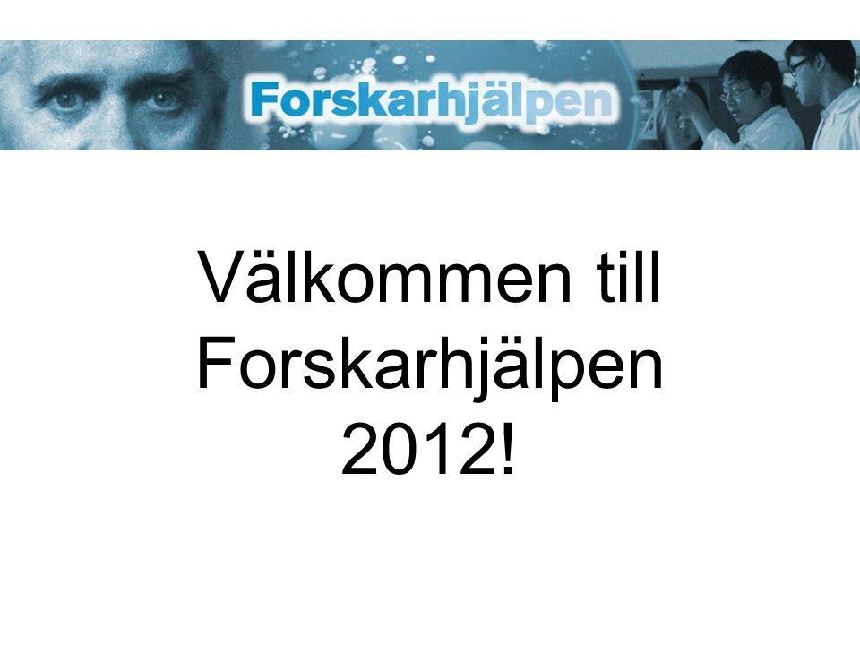 Välkommen till Forskarhjälpen 2012!