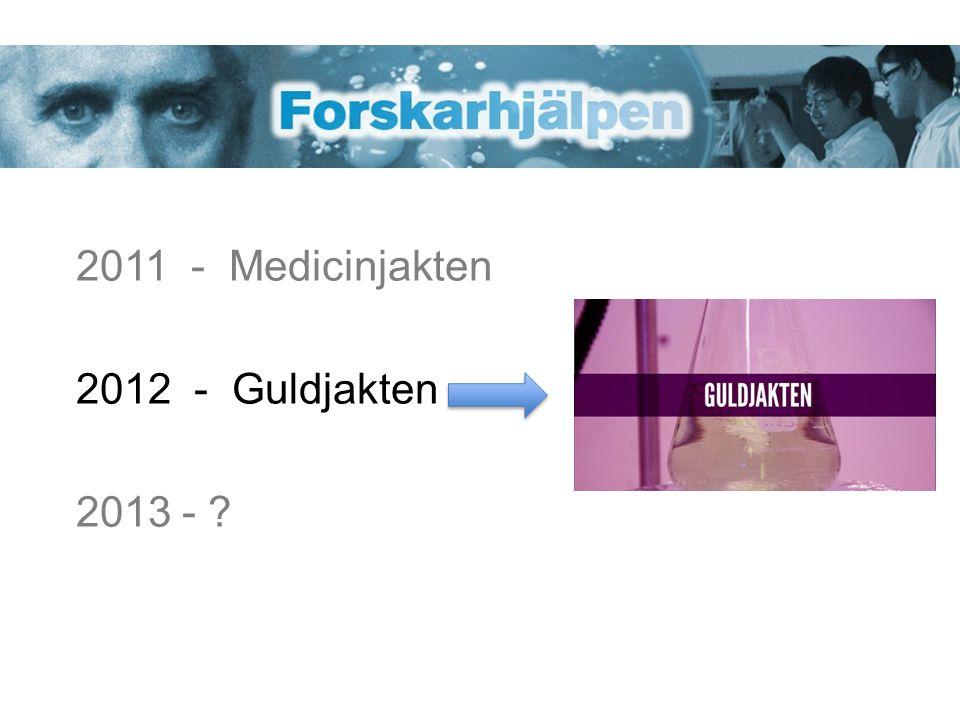 2011 - Medicinjakten 2012 - Guldjakten 2013 - ?