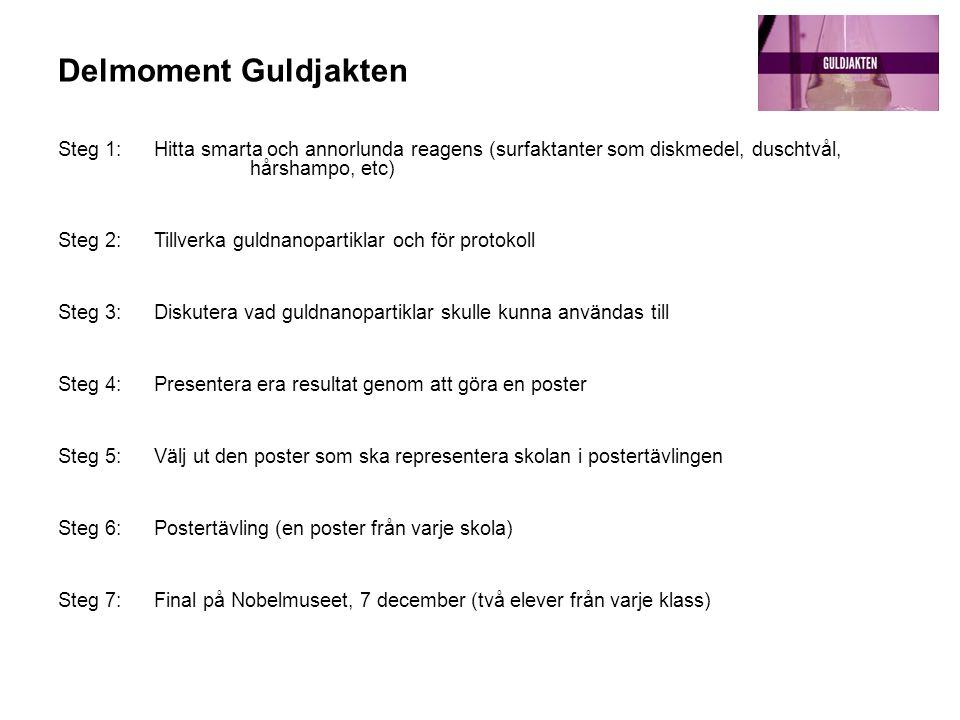 Delmoment Guldjakten Steg 1: Hitta smarta och annorlunda reagens (surfaktanter som diskmedel, duschtvål, hårshampo, etc) Steg 2: Tillverka guldnanopar