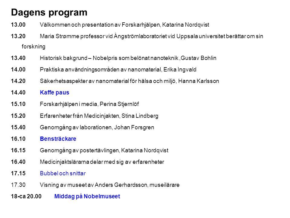 Dagens program 13.00Välkommen och presentation av Forskarhjälpen, Katarina Nordqvist 13.20Maria Strømme professor vid Ångströmlaboratoriet vid Uppsala