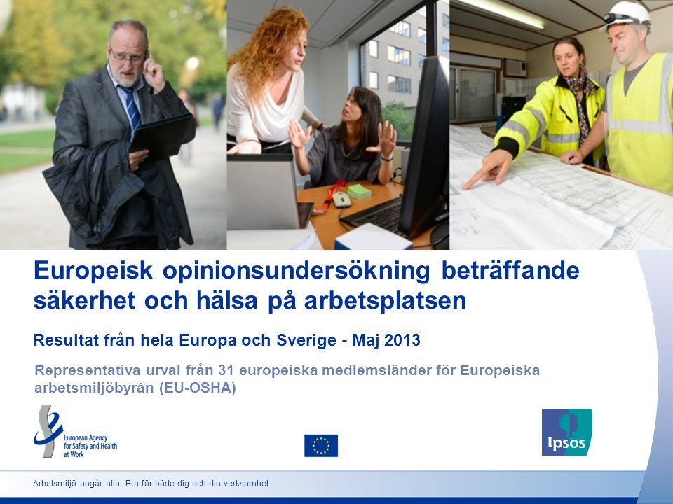 2 http://osha.europa.eu Utformning av opinionsundersökningen Omfattning:: Heltidsarbetande, deltidsarbetande och egenföretagande arbetstagare som är 18 eller äldre enligt ordinarie bosättningsland och på respektive språk Urval: Representativt urval i vart och ett av de 31 europeiska länder som deltar Viktning: Informationen är viktad för att avspegla den arbetande befolkningen när det gäller ålder, kön och region.