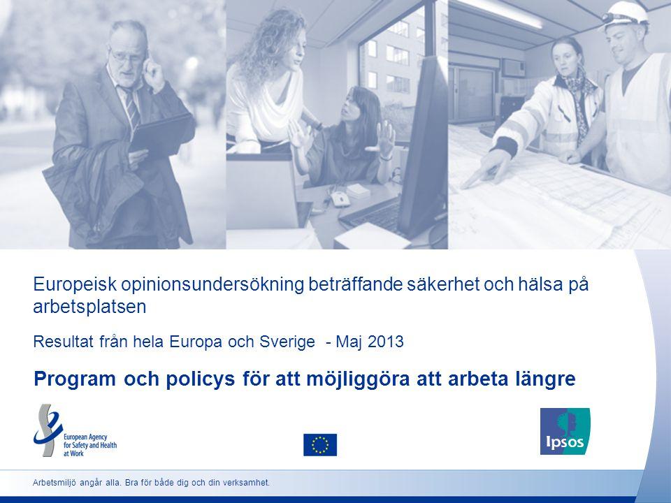 Europeisk opinionsundersökning beträffande säkerhet och hälsa på arbetsplatsen Resultat från hela Europa och Sverige - Maj 2013 Program och policys för att möjliggöra att arbeta längre Arbetsmiljö angår alla.