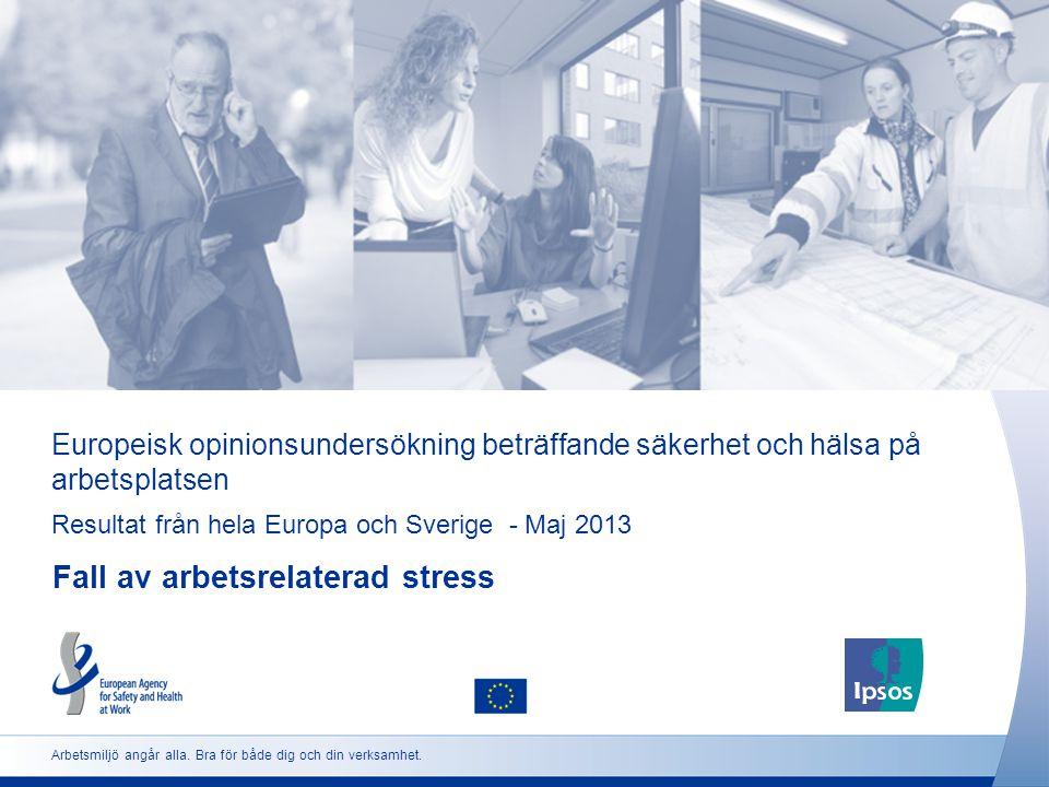 Europeisk opinionsundersökning beträffande säkerhet och hälsa på arbetsplatsen Resultat från hela Europa och Sverige - Maj 2013 Fall av arbetsrelaterad stress Arbetsmiljö angår alla.