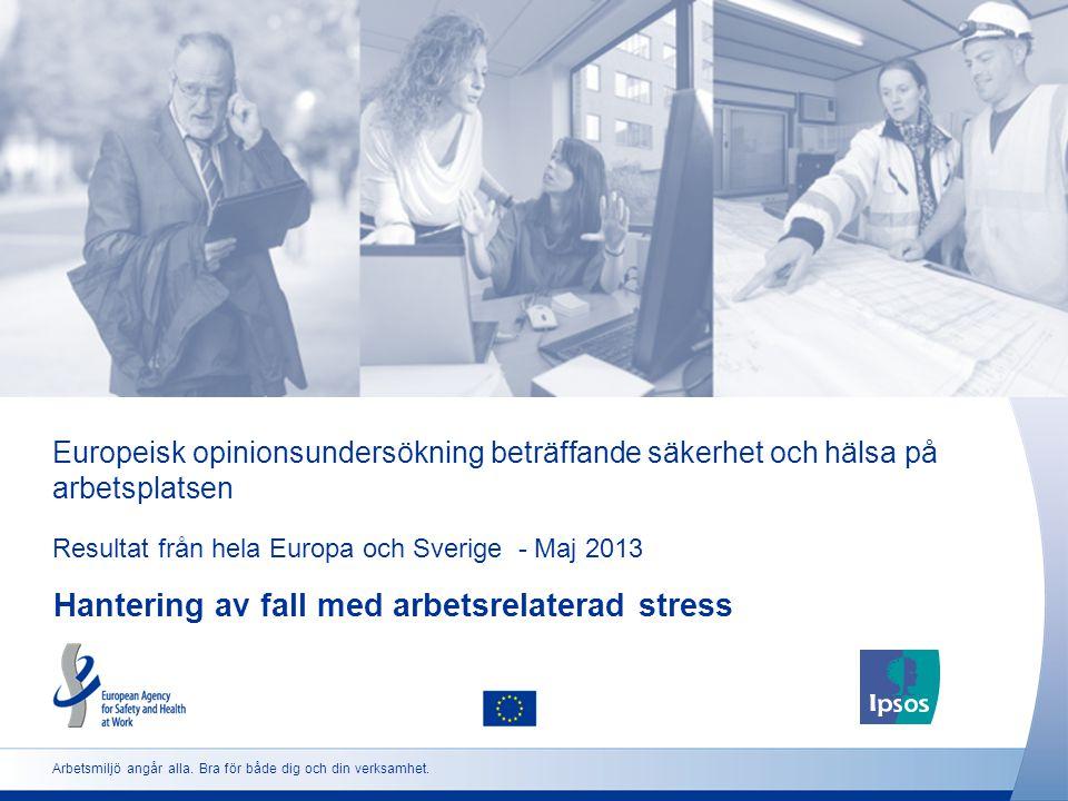Europeisk opinionsundersökning beträffande säkerhet och hälsa på arbetsplatsen Resultat från hela Europa och Sverige - Maj 2013 Hantering av fall med arbetsrelaterad stress Arbetsmiljö angår alla.