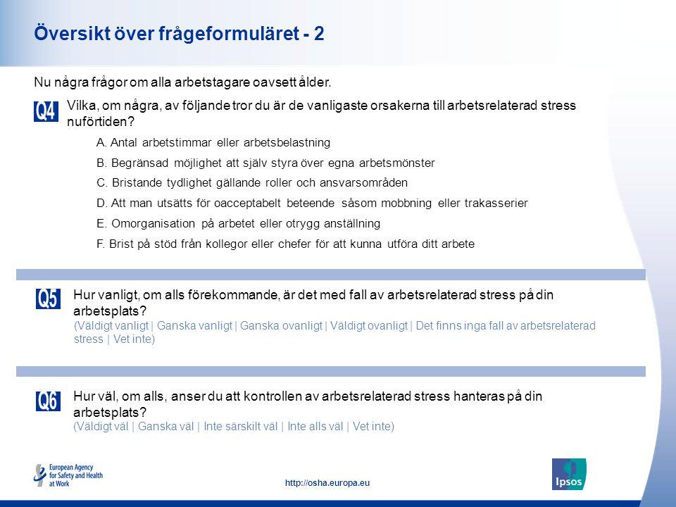 36 http://osha.europa.eu Vilka, om några, av följande tror du är de vanligaste orsakerna till arbetsrelaterad stress nuförtiden.