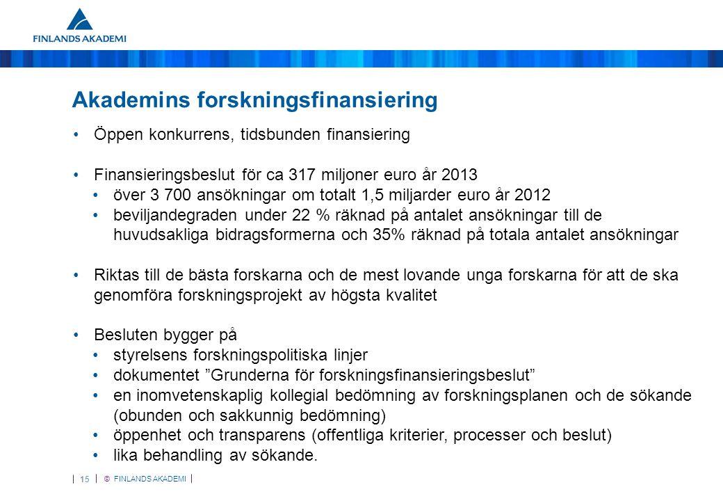 © FINLANDS AKADEMI 15 Akademins forskningsfinansiering •Öppen konkurrens, tidsbunden finansiering •Finansieringsbeslut för ca 317 miljoner euro år 2013 •över 3 700 ansökningar om totalt 1,5 miljarder euro år 2012 •beviljandegraden under 22 % räknad på antalet ansökningar till de huvudsakliga bidragsformerna och 35% räknad på totala antalet ansökningar •Riktas till de bästa forskarna och de mest lovande unga forskarna för att de ska genomföra forskningsprojekt av högsta kvalitet •Besluten bygger på •styrelsens forskningspolitiska linjer •dokumentet Grunderna för forskningsfinansieringsbeslut •en inomvetenskaplig kollegial bedömning av forskningsplanen och de sökande (obunden och sakkunnig bedömning) •öppenhet och transparens (offentliga kriterier, processer och beslut) •lika behandling av sökande.