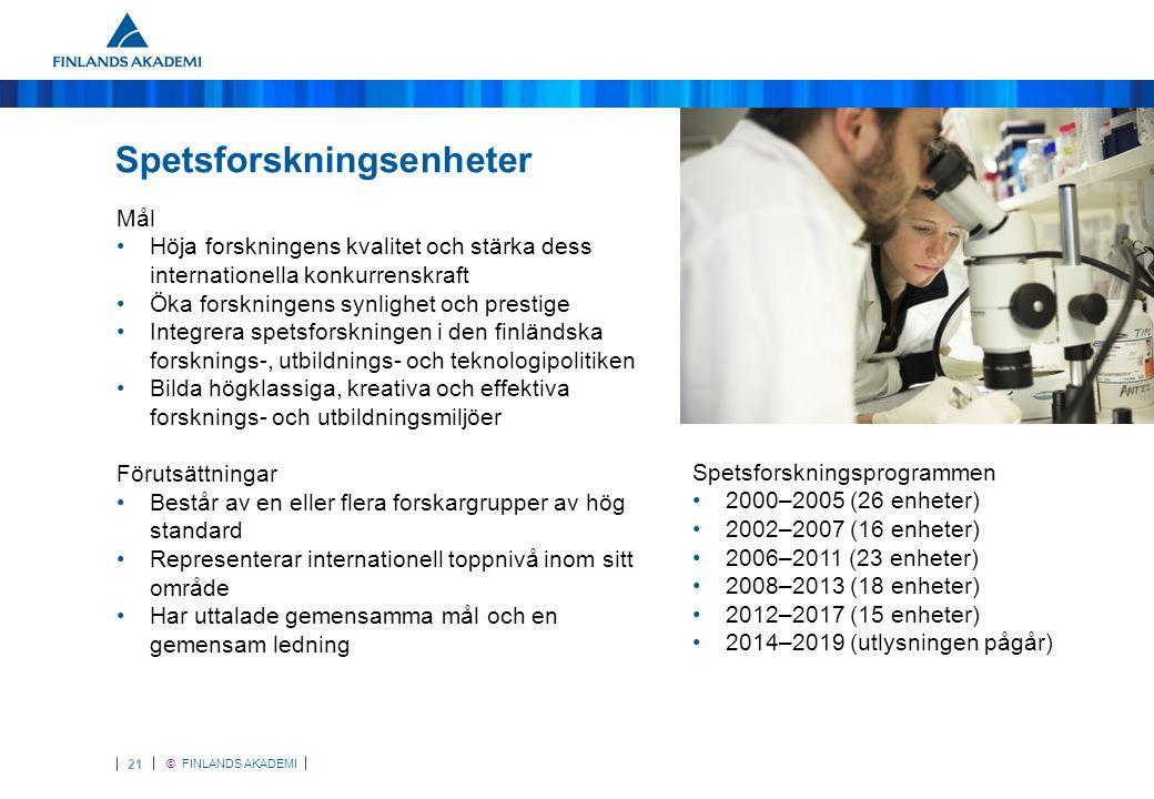 © FINLANDS AKADEMI 21 Spetsforskningsenheter Mål •Höja forskningens kvalitet och stärka dess internationella konkurrenskraft •Öka forskningens synlighet och prestige •Integrera spetsforskningen i den finländska forsknings-, utbildnings- och teknologipolitiken •Bilda högklassiga, kreativa och effektiva forsknings- och utbildningsmiljöer Förutsättningar •Består av en eller flera forskargrupper av hög standard •Representerar internationell toppnivå inom sitt område •Har uttalade gemensamma mål och en gemensam ledning Spetsforskningsprogrammen •2000–2005 (26 enheter) •2002–2007 (16 enheter) •2006–2011 (23 enheter) •2008–2013 (18 enheter) •2012–2017 (15 enheter) •2014–2019 (utlysningen pågår)