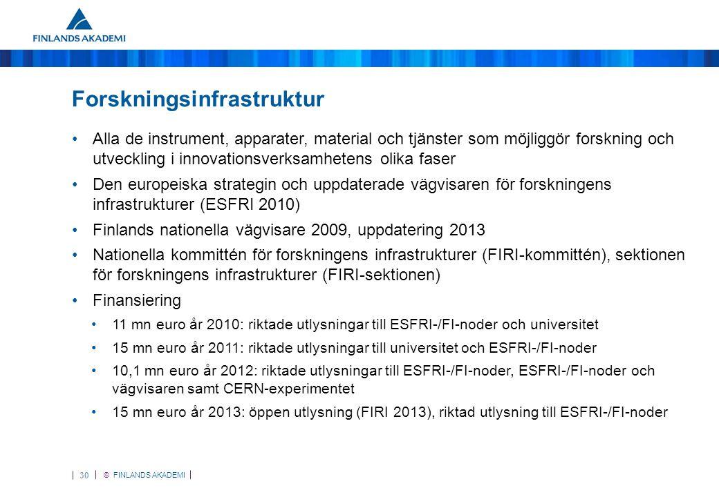 © FINLANDS AKADEMI 30 Forskningsinfrastruktur •Alla de instrument, apparater, material och tjänster som möjliggör forskning och utveckling i innovationsverksamhetens olika faser •Den europeiska strategin och uppdaterade vägvisaren för forskningens infrastrukturer (ESFRI 2010) •Finlands nationella vägvisare 2009, uppdatering 2013 •Nationella kommittén för forskningens infrastrukturer (FIRI-kommittén), sektionen för forskningens infrastrukturer (FIRI-sektionen) •Finansiering •11 mn euro år 2010: riktade utlysningar till ESFRI-/FI-noder och universitet •15 mn euro år 2011: riktade utlysningar till universitet och ESFRI-/FI-noder •10,1 mn euro år 2012: riktade utlysningar till ESFRI-/FI-noder, ESFRI-/FI-noder och vägvisaren samt CERN-experimentet •15 mn euro år 2013: öppen utlysning (FIRI 2013), riktad utlysning till ESFRI-/FI-noder