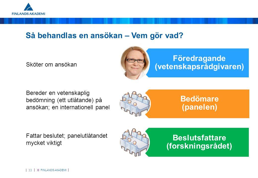 © FINLANDS AKADEMI 33 Så behandlas en ansökan – Vem gör vad.