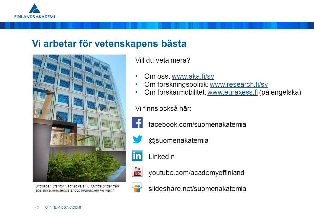 © FINLANDS AKADEMI 43 Vi arbetar för vetenskapens bästa Vill du veta mera.