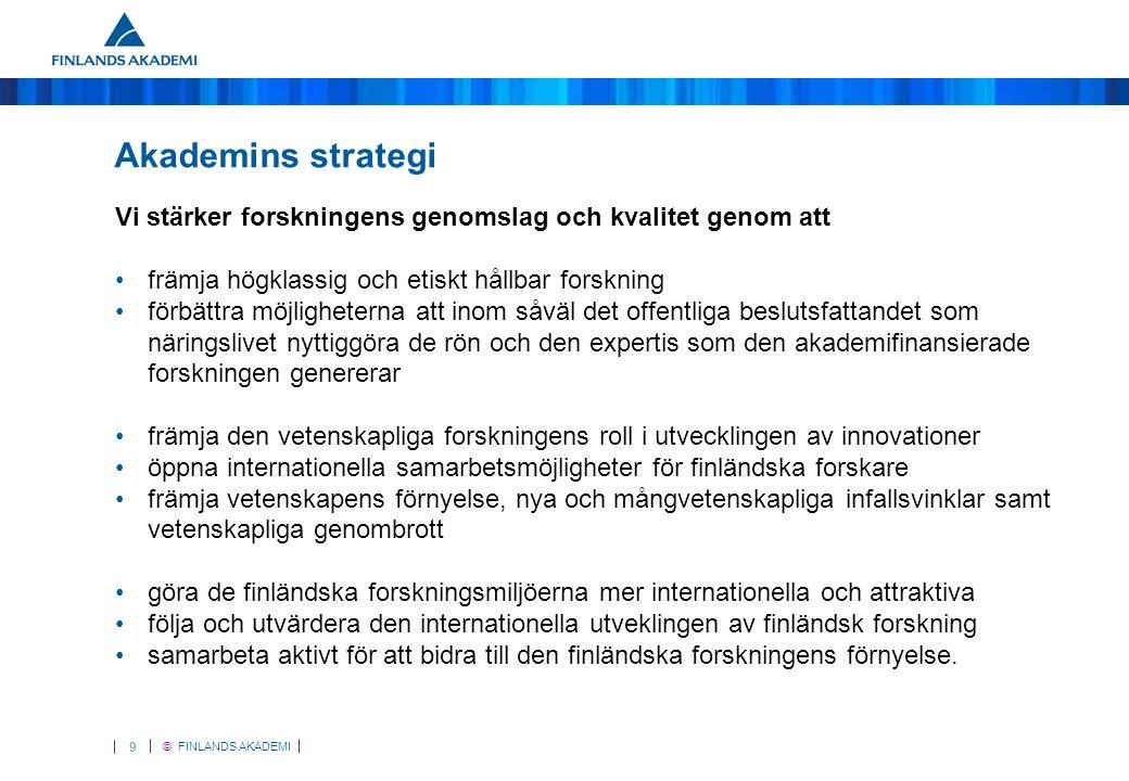 © FINLANDS AKADEMI 9 Akademins strategi Vi stärker forskningens genomslag och kvalitet genom att •främja högklassig och etiskt hållbar forskning •förbättra möjligheterna att inom såväl det offentliga beslutsfattandet som näringslivet nyttiggöra de rön och den expertis som den akademifinansierade forskningen genererar •främja den vetenskapliga forskningens roll i utvecklingen av innovationer •öppna internationella samarbetsmöjligheter för finländska forskare •främja vetenskapens förnyelse, nya och mångvetenskapliga infallsvinklar samt vetenskapliga genombrott •göra de finländska forskningsmiljöerna mer internationella och attraktiva •följa och utvärdera den internationella utveklingen av finländsk forskning •samarbeta aktivt för att bidra till den finländska forskningens förnyelse.