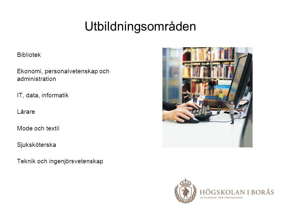 Utbildningsområden Bibliotek Ekonomi, personalvetenskap och administration IT, data, informatik Lärare Mode och textil Sjuksköterska Teknik och ingenjörsvetenskap