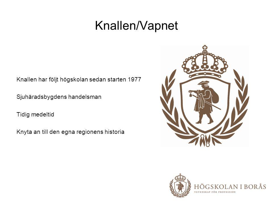 Knallen/Vapnet Knallen har följt högskolan sedan starten 1977 Sjuhäradsbygdens handelsman Tidig medeltid Knyta an till den egna regionens historia