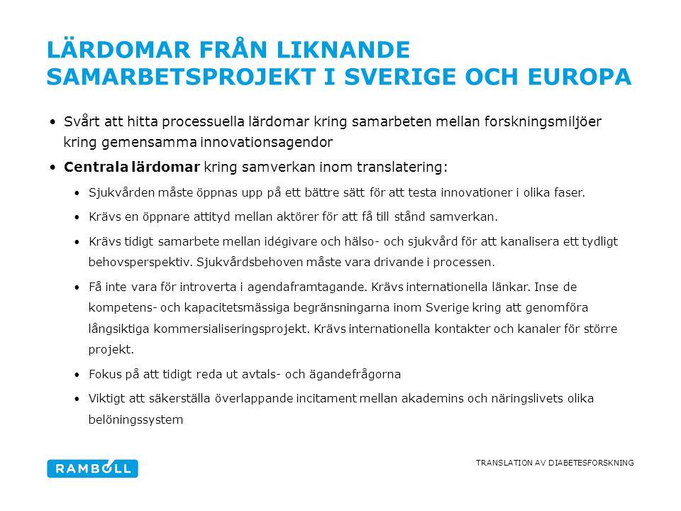 TRANSLATION AV DIABETESFORSKNING LÄRDOMAR FRÅN LIKNANDE SAMARBETSPROJEKT I SVERIGE OCH EUROPA •Svårt att hitta processuella lärdomar kring samarbeten