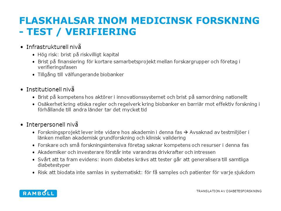TRANSLATION AV DIABETESFORSKNING FLASKHALSAR INOM MEDICINSK FORSKNING - TEST / VERIFIERING •Infrastrukturell nivå •Hög risk: brist på riskvilligt kapi