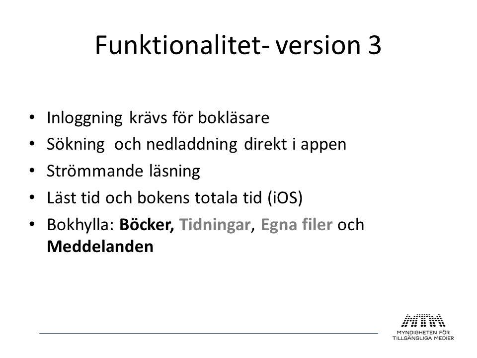 Funktionalitet- version 3 • Inloggning krävs för bokläsare • Sökning och nedladdning direkt i appen • Strömmande läsning • Läst tid och bokens totala
