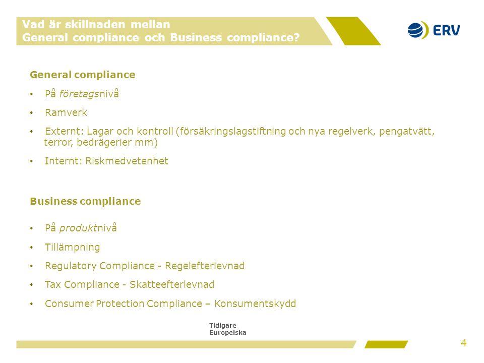 Tidigare Europeiska Vad är skillnaden mellan General compliance och Business compliance? General compliance • På företagsnivå • Ramverk • Externt: Lag