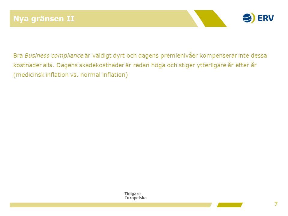 Tidigare Europeiska Nya gränsen II Bra Business compliance är väldigt dyrt och dagens premienivåer kompenserar inte dessa kostnader alls. Dagens skade