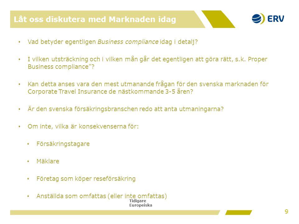 Tidigare Europeiska Låt oss diskutera med Marknaden idag • Vad betyder egentligen Business compliance idag i detalj? • I vilken utsträckning och i vil