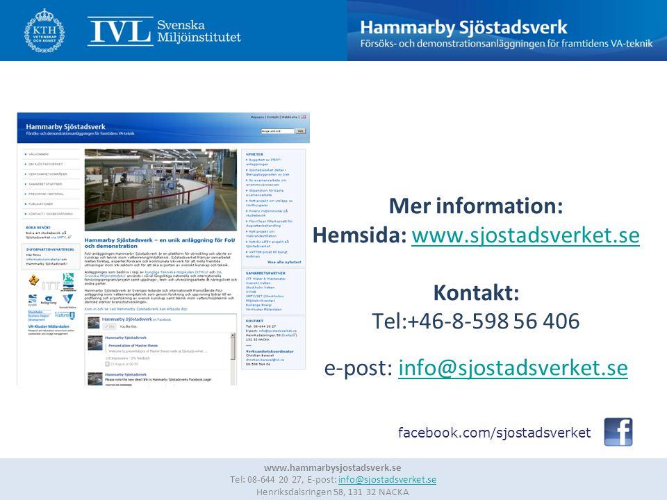 13 www.hammarbysjostadsverk.se Tel: 08-644 20 27, E-post: info@sjostadsverket.se Henriksdalsringen 58, 131 32 NACKAinfo@sjostadsverket.se Mer informat