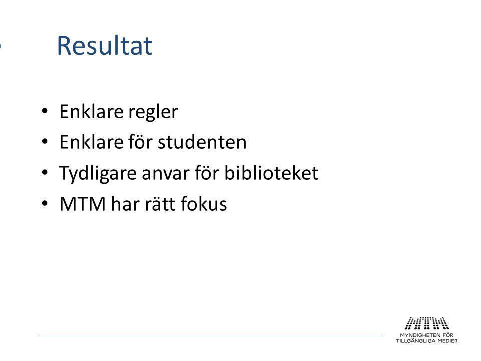 Resultat • Enklare regler • Enklare för studenten • Tydligare anvar för biblioteket • MTM har rätt fokus