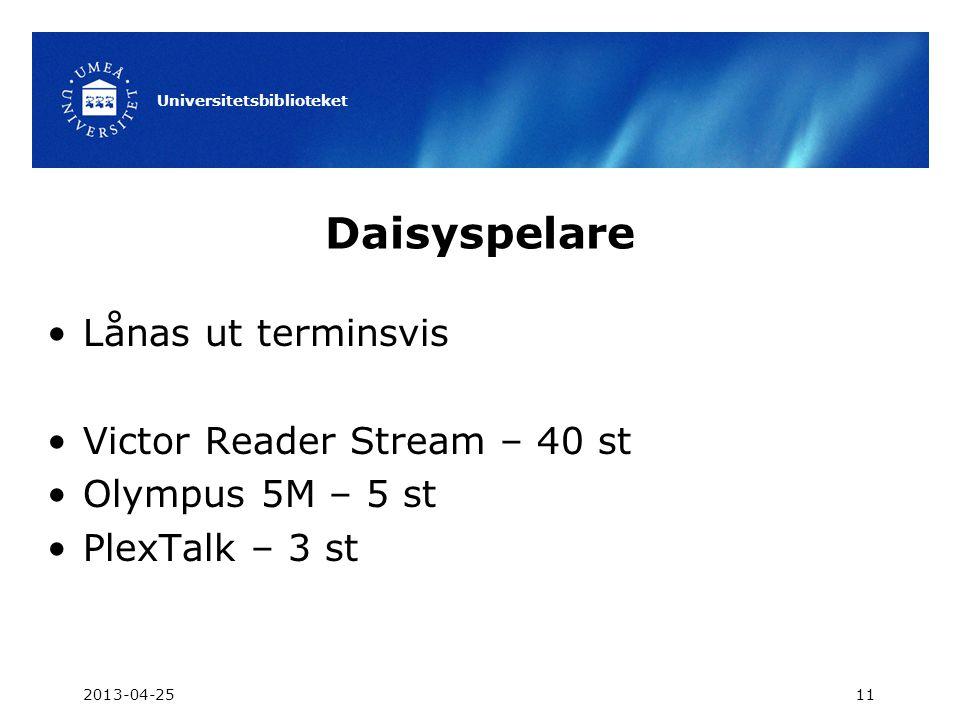 Daisyspelare •Lånas ut terminsvis •Victor Reader Stream – 40 st •Olympus 5M – 5 st •PlexTalk – 3 st 2013-04-25 Universitetsbiblioteket 11