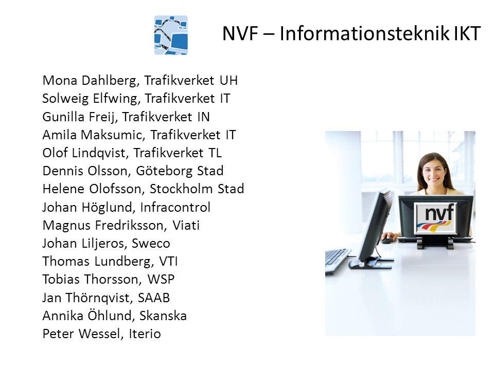 NVF – Informationsteknik IKT Mona Dahlberg, Trafikverket UH Solweig Elfwing, Trafikverket IT Gunilla Freij, Trafikverket IN Amila Maksumic, Trafikverk