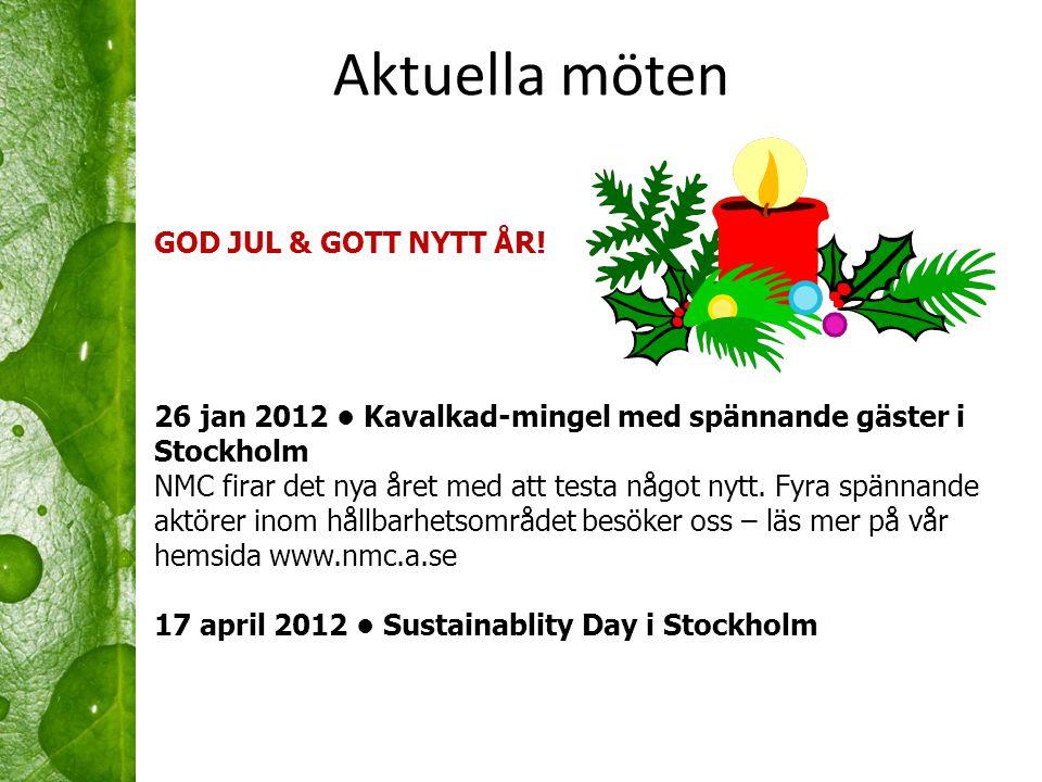 Aktuella möten GOD JUL & GOTT NYTT ÅR! 26 jan 2012 • Kavalkad-mingel med spännande gäster i Stockholm NMC firar det nya året med att testa något nytt.