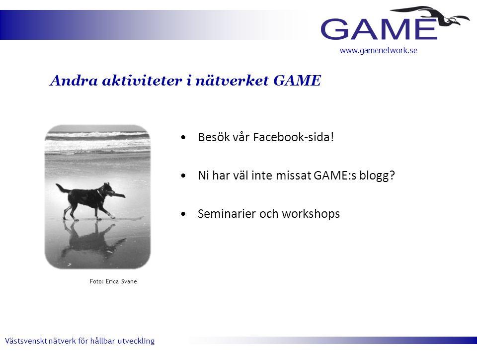 Västsvenskt nätverk för hållbar utveckling www.gamenetwork.se Andra aktiviteter i nätverket GAME •Besök vår Facebook-sida! •Ni har väl inte missat GAM