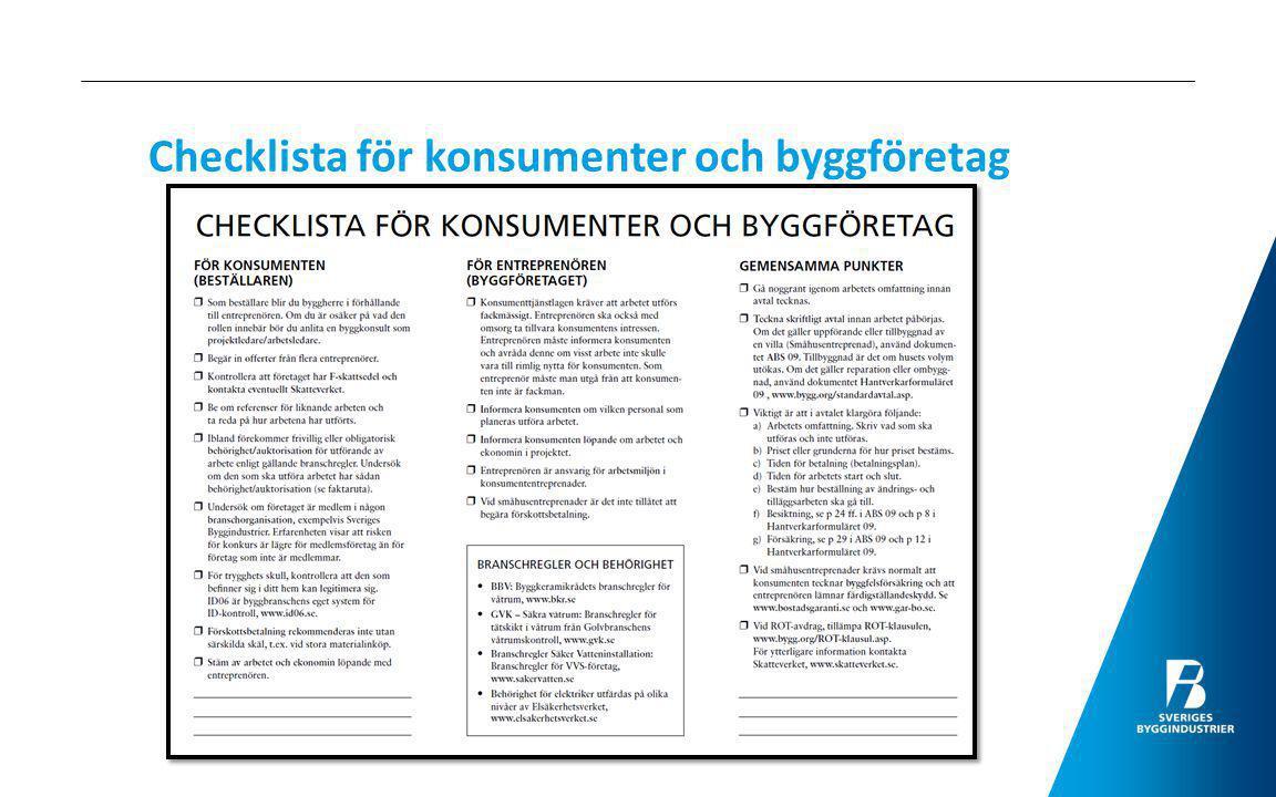 Checklista för konsumenter och byggföretag