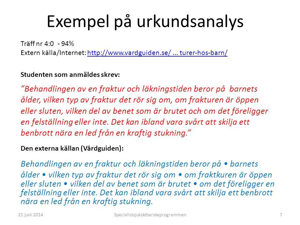 Specialistsjuksköterskeprogrammen7 Exempel på urkundsanalys Träff nr 4:0 - 94% Extern källa/Internet: http://www.vardguiden.se/... turer-hos-barn/http