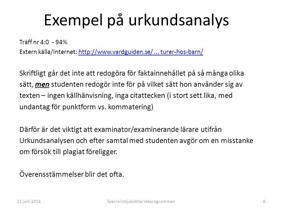 Specialistsjuksköterskeprogrammen8 Exempel på urkundsanalys Träff nr 4:0 - 94% Extern källa/Internet: http://www.vardguiden.se/... turer-hos-barn/http