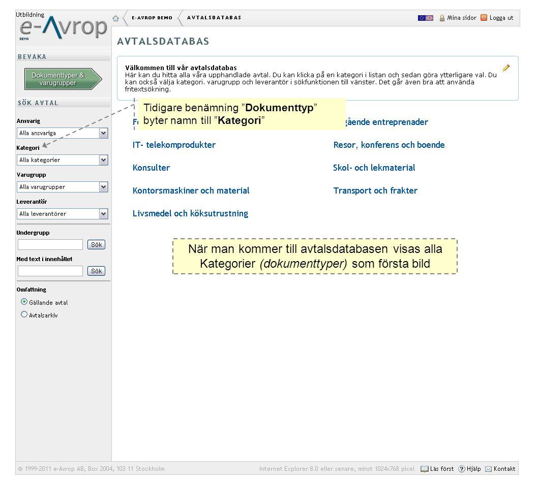 """Tidigare benämning """"Dokumenttyp"""" byter namn till """"Kategori"""" När man kommer till avtalsdatabasen visas alla Kategorier (dokumenttyper) som första bild"""