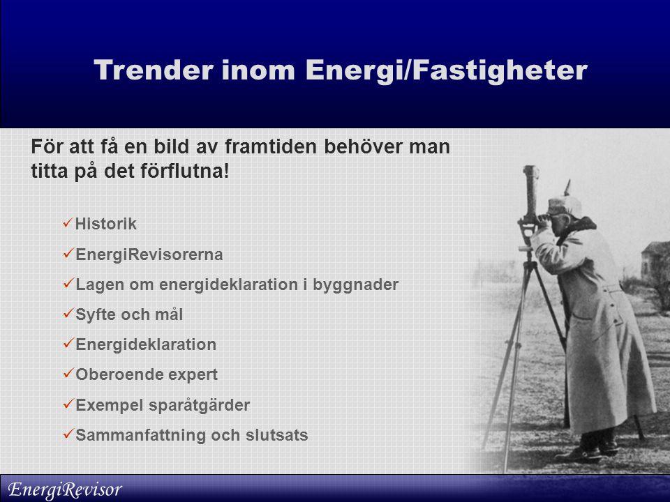 Trender inom Energi/Fastigheter För att få en bild av framtiden behöver man titta på det förflutna!  Historik  EnergiRevisorerna  Lagen om energide