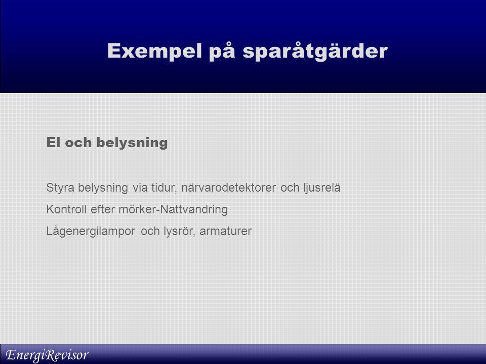 Exempel på sparåtgärder El och belysning Styra belysning via tidur, närvarodetektorer och ljusrelä Kontroll efter mörker-Nattvandring Lågenergilampor