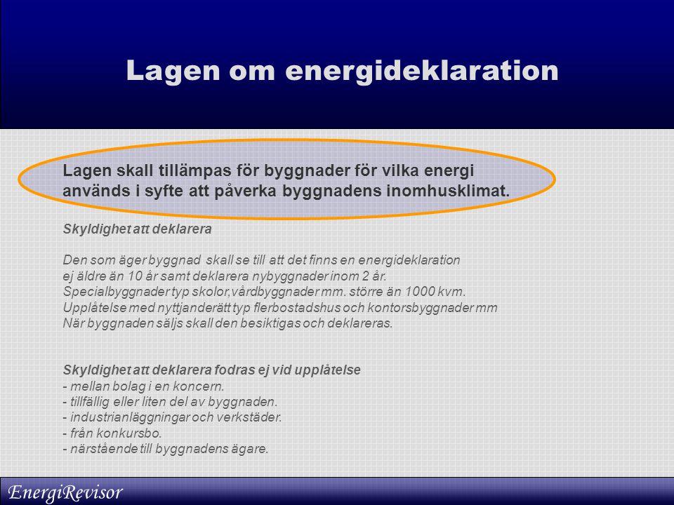 Lagen om energideklaration Lagen skall tillämpas för byggnader för vilka energi används i syfte att påverka byggnadens inomhusklimat. Skyldighet att d