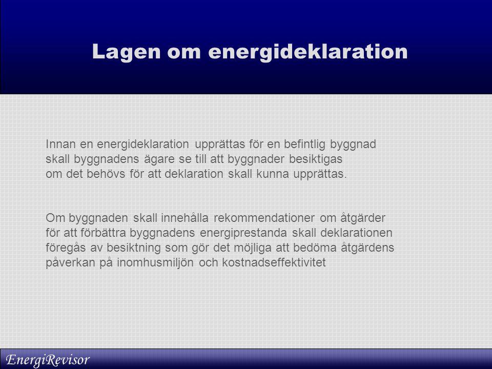 Lagen om energideklaration Innan en energideklaration upprättas för en befintlig byggnad skall byggnadens ägare se till att byggnader besiktigas om de