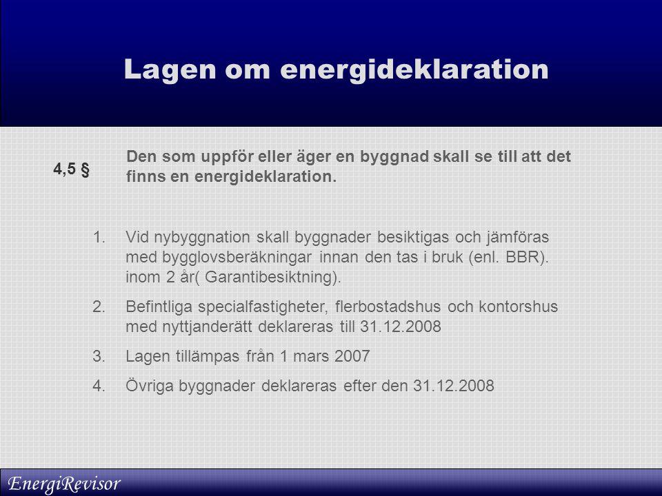 Lagen om energideklaration Den som uppför eller äger en byggnad skall se till att det finns en energideklaration. 1.Vid nybyggnation skall byggnader b