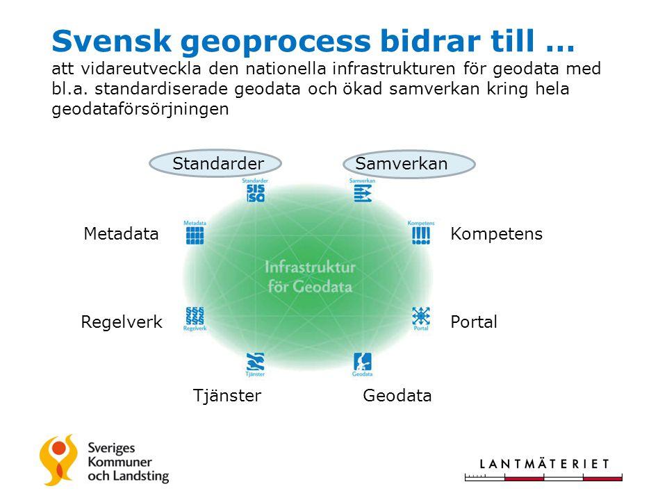 Svensk geoprocess bidrar till … att vidareutveckla den nationella infrastrukturen för geodata med bl.a. standardiserade geodata och ökad samverkan kri